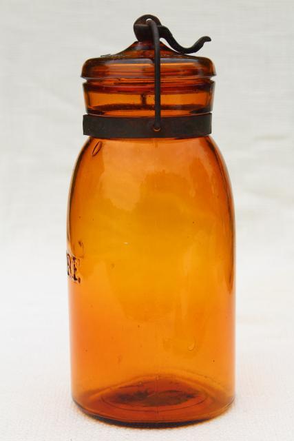 antique amber glass bottle Globe fruit canning jar w/ wire ...