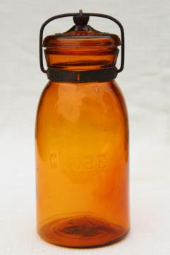 antique amber glass bottle Globe fruit canning jar w/ wire bail lid vintage 1886 patent date