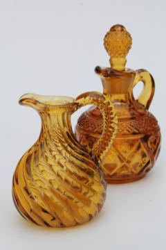antique amber glass cruets, EAPG vintage blown pressed pattern glass pitchers