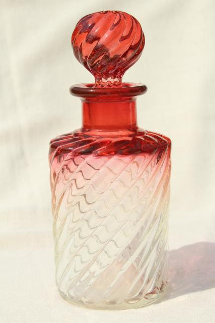 antique amberina glass decanter bottle, cranberry rubena ruby shaded to clear glass