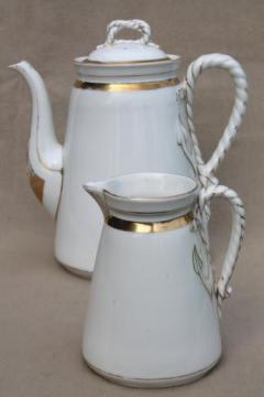 antique anchor & cable rope Haviland Limoges porcelain, china coffee pot & pitcher