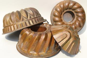 antique and vintage French copper molds, heavy bundt pan ring mold lot