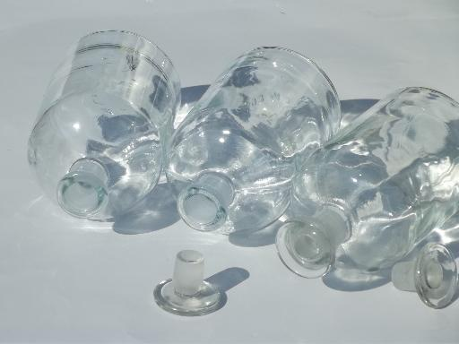antique apothecary bottles, glass stoppered pharmacy bottle collection