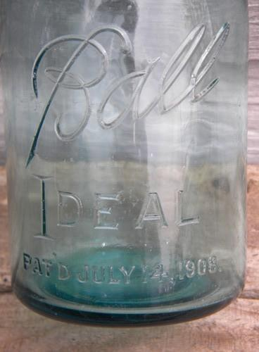 antique aqua blue Ball Ideal 1 qt storage jars w/1908 patent and bubbles
