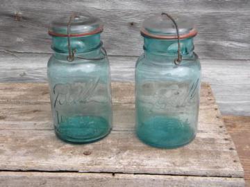 antique aqua blue Ball Ideal 1 qt storage jars w/1908 patent and bubbles