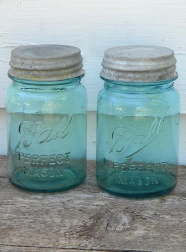 antique aqua blue Ball Perfect Mason 1 pint fruit jars w/lids, lot of 4