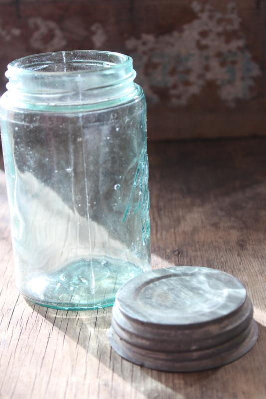 antique aqua blue glass pint size jar Ball Mason with 3L script lettering