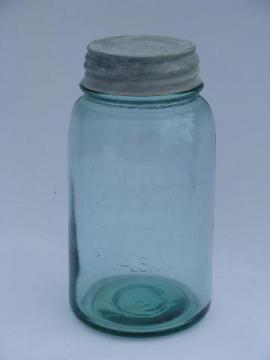antique aqua blue green glass 1 qt Boyd Perfect Mason jar