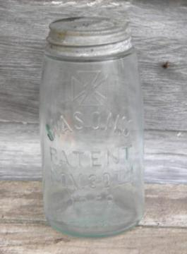 antique aqua glass Mason's Patent jar w/ Masonic cross emblem, 1 qt
