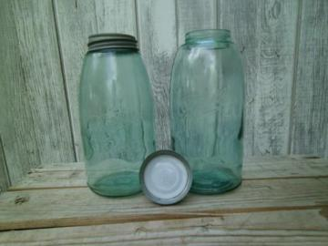 antique aqua green glass mason jars, large  Ball slope shoulder fruit jars