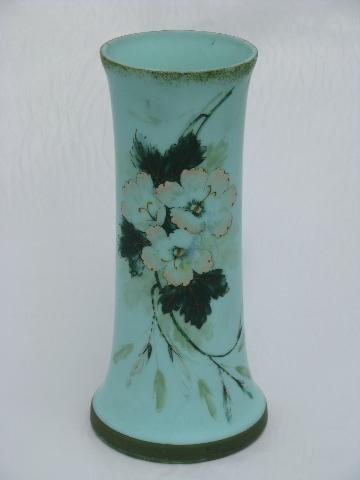Antique Aqua Green Satin Glass Vase Hand Painted Roses Floral