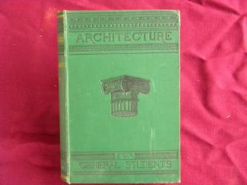 antique architectural textbook w/art binding and engravings/illustrations