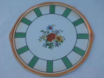 antique art deco floral cake plate, old luster painted china Germany