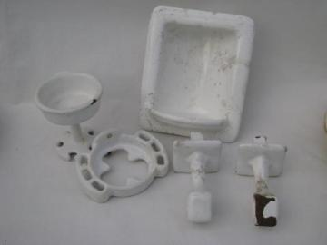 antique art deco vintage bath fixtures, soap dish etc