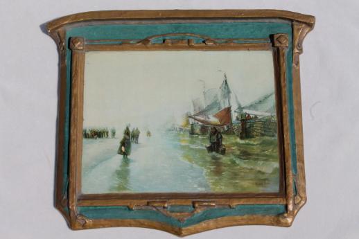 antique art nouveau Regal Art label gesso plank back wall plaque ...