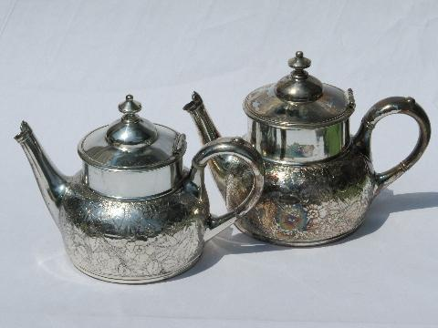 antique art nouveau embossed flower tea & coffee set, Meriden silver