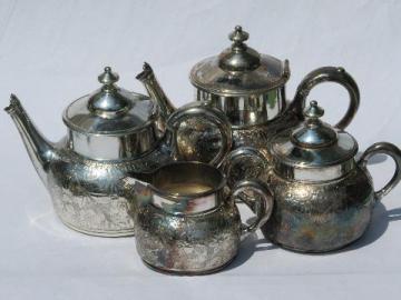 antique art nouveau embossed flower tea & coffee set, Meriden silver