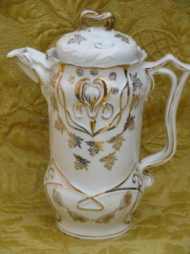 antique art nouveau porcelain coffee/chocolate pot, Limoges iris w/gold