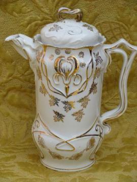 antique art nouveau porcelain coffee/chocolate pot, Limoges iris w/gold