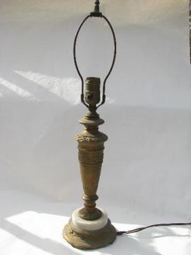 antique art nouveau vintage early electric table or desk lamp, cast metal / marble