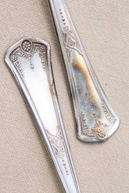 antique art nouveau vintage silverplate tea spoons, plated w/ pure silver