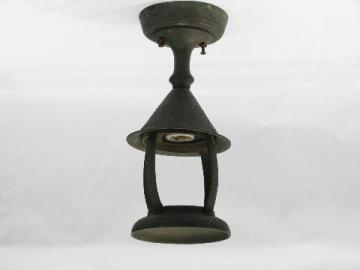 antique arts and crafts vintage solid copper porch light