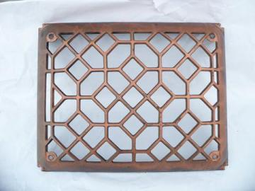 antique arts & crafts vintage, architectural cast iron heating/ventilation register grate