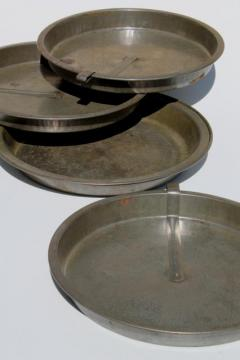 antique baking tins, vintage tinned steel pie pan & cake pans w/ ring around easy release lever