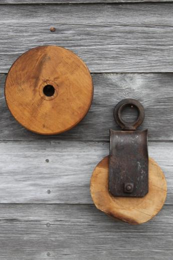 Antique Barn Pulley For Block Tackle W Iron Hardware Extra Wood Wheel