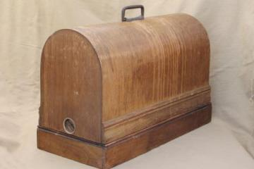 antique bentwood wood sewing machine cover / case for early 1900s vintage sewing machine