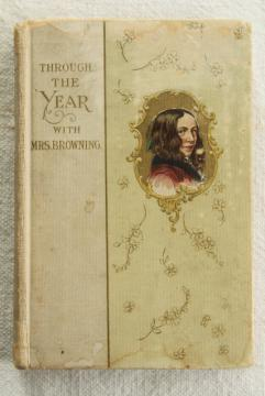 antique birthday album book written in ink, Elizabeth Barrett Browning lines for every day