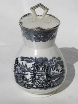 antique black transferware ironstone china toothbrush holder vase, or spooner?
