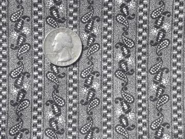 antique black & white calico print cotton fabric, early 1900s vintage material