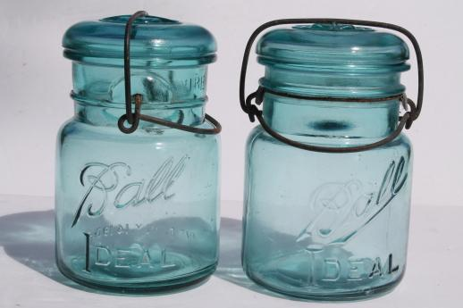 antique blue Ball mason jar half dozen vintage Ball Ideal Mason