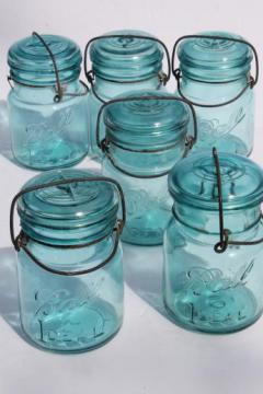 antique  blue Ball mason jar, half dozen vintage  Ball Ideal Mason storage jars