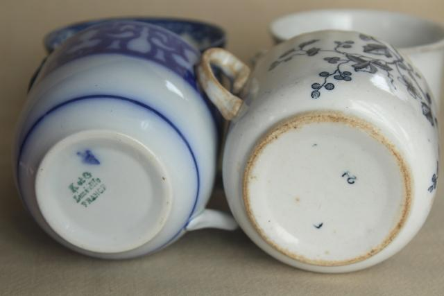 antique blue & white china mug cups,       late 1800s early 1900s vintage aesthetic design