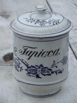 antique blue and white china pantry jar canister for Tapioca, vintage Germany