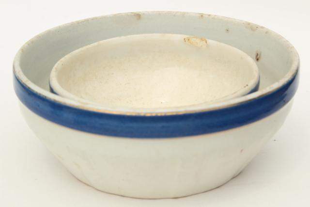 antique blue band mixing bowls, 1800s vintage blue & white, old china or pottery