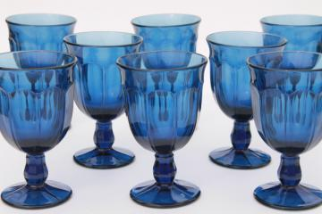 antique blue colored glass water goblets wine glasses, Gibraltar style heavy stemware