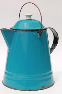 antique blue enamel thresherman's coffeepot, huge old coffee pot from a farm kitchen