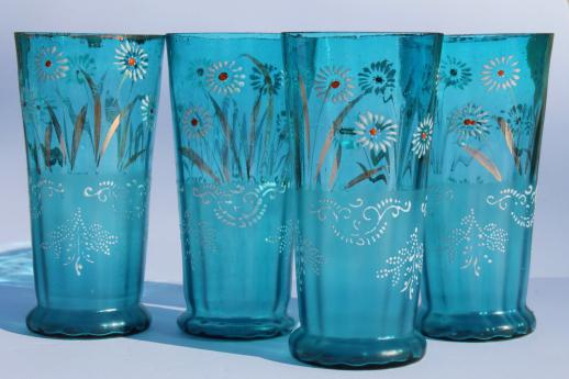 Antique Chandeliers For Sale >> antique blue glass lemonade set, tall pitcher & tumblers w/ hand painted enamel flowers