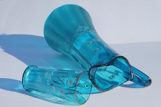 Antique Blue Glass Pitcher Antique Blue Glass Lemonade