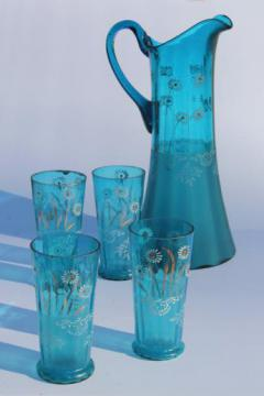 antique blue glass lemonade set, tall pitcher & tumblers w/ hand painted enamel flowers