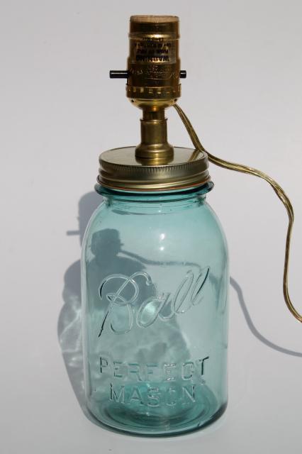 Antique Blue Glass Mason Jar W Electric Light Primitive