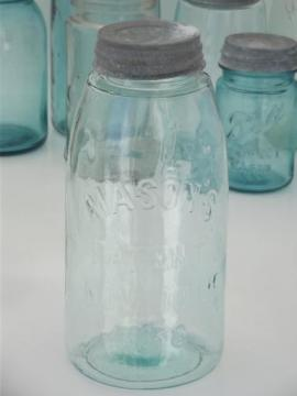 antique blue glass mason jar, old zinc lid 2 qt fruit jar w/ 1858 patent date