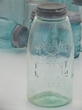 antique blue glass mason jar, old zinc lid 2 qt fruit jar w/ 1858 patent date