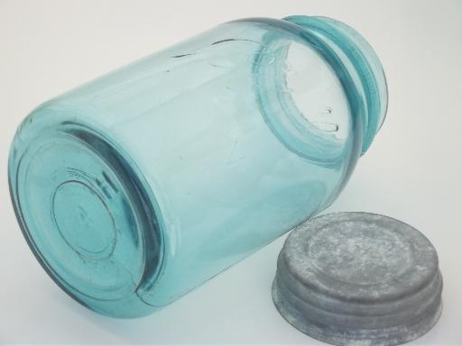 antique blue glass mason jar, old zinc lid Ball jar, vintage canning jar