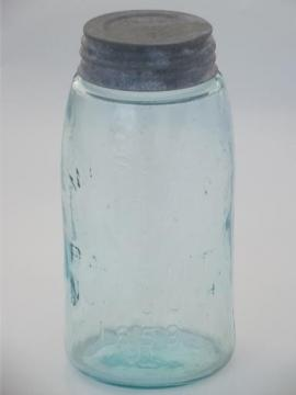 antique blue glass mason jar, old zinc lid canning jar w/ 1858 patent date