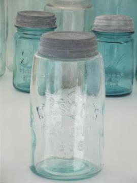 antique blue glass mason jar, old zinc lid canning jar w/ 1858 patent date