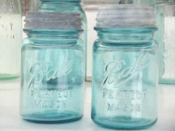 antique blue glass mason jars, old zinc lid Ball jars, pint jelly / relish jars